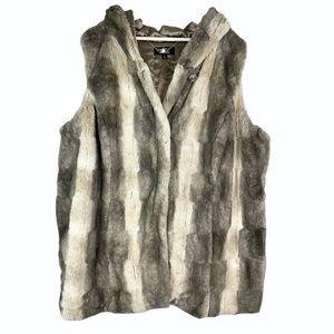 Dennis Basso Vegan Faux Fur Sleeveless Hooded Vest